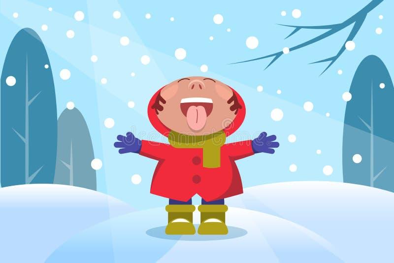 Enfant dans la forêt d'hiver avec des flocons de neige illustration de vecteur