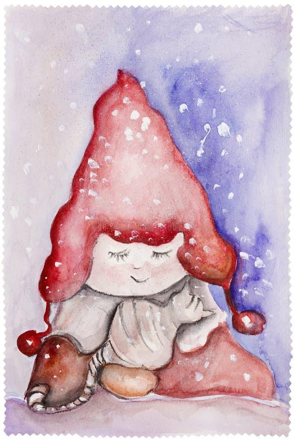 Enfant dans le chapeau et le chat rouges illustration libre de droits