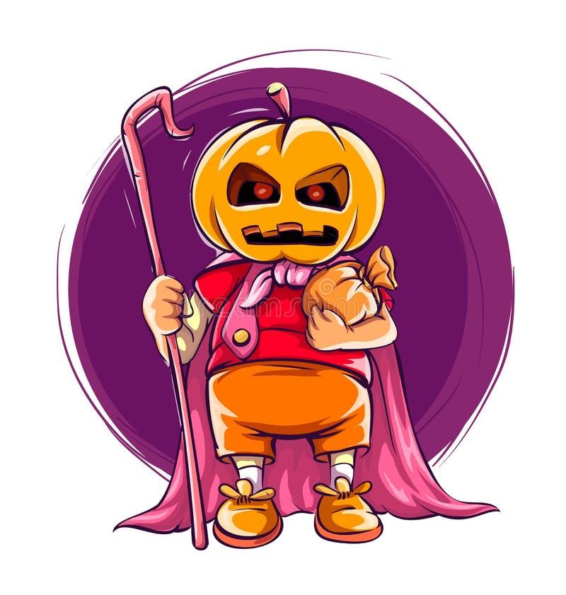 Enfant dans le costume de Halloween avec le potiron sur la tête illustration stock