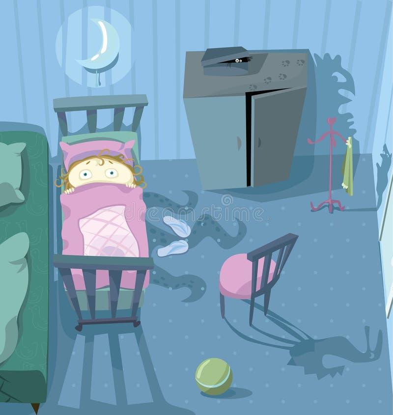 Enfant dans le lit, effrayé de l'obscurité illustration libre de droits