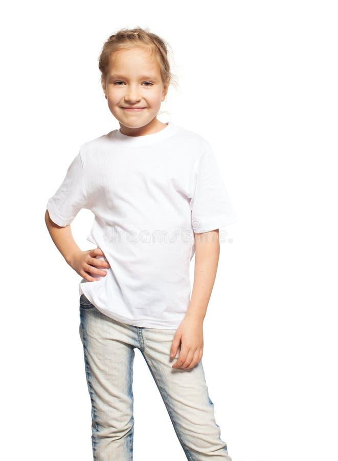 Enfant dans le T-shirt blanc images stock