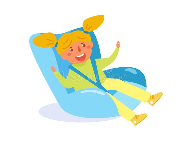 Enfant dans le vecteur de siège de voiture d'enfant cartoon Art d'isolement sur le fond blanc illustration de vecteur
