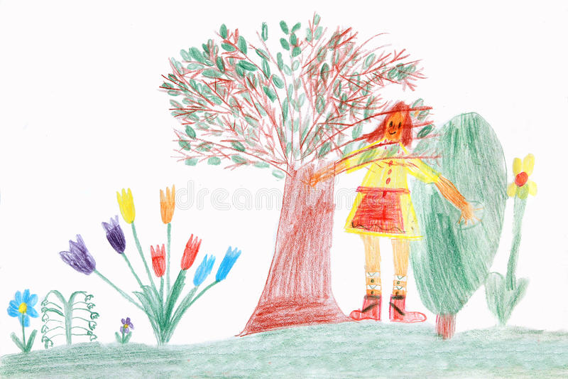 Enfant dans un jardin de ressort - dessin d'enfants illustration stock