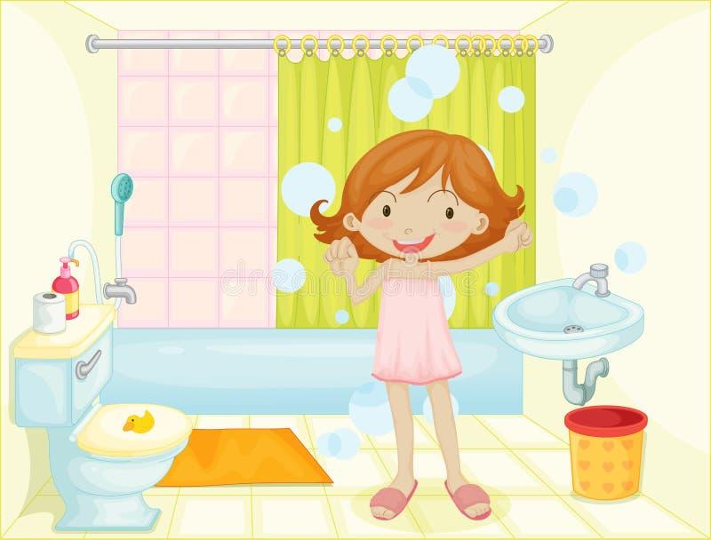 Enfant dans une salle de bains illustration de vecteur