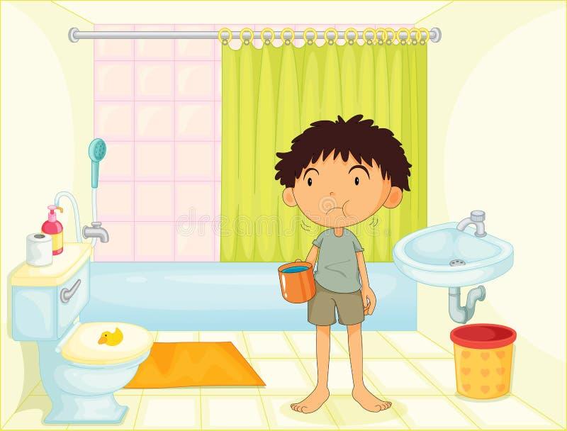 Enfant dans une salle de bains illustration libre de droits