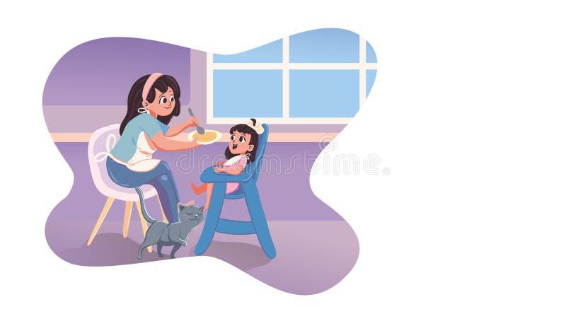 Enfant de alimentation de babysitter dans la cuisine illustration de vecteur