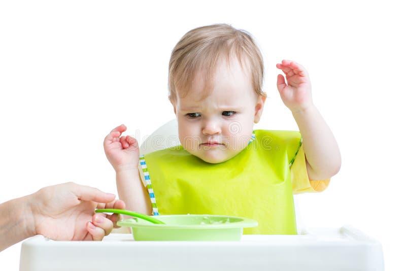 Enfant de bébé refusant de manger photo libre de droits
