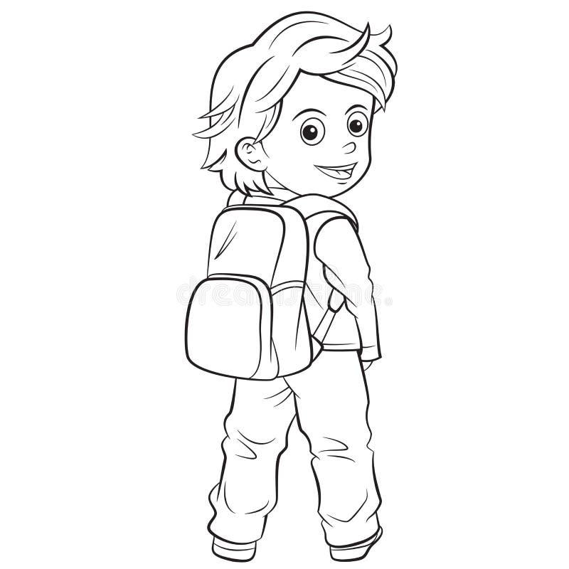 Enfant de bande dessinée allant instruire illustration stock