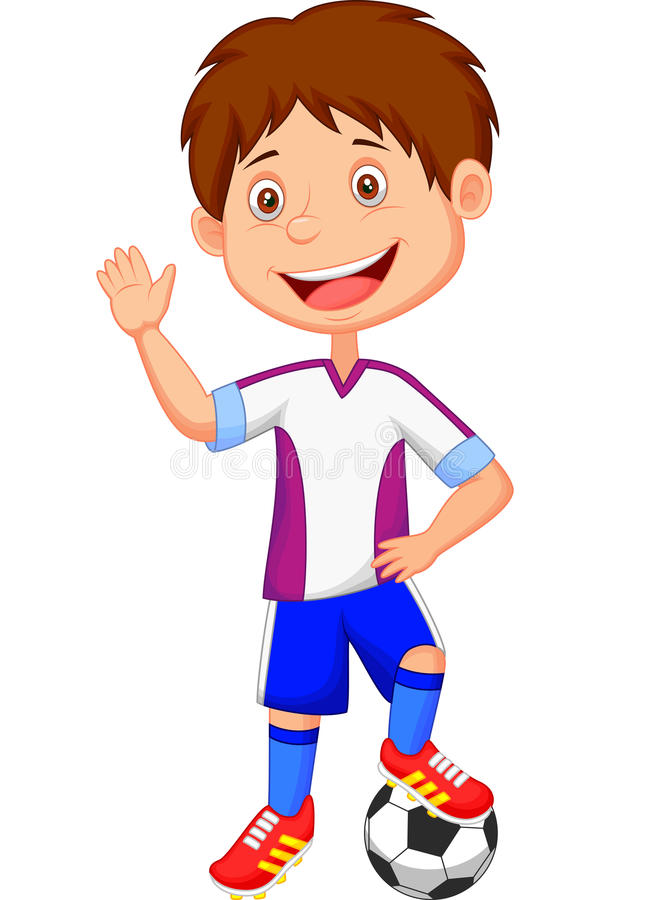 Enfant de bande dessinée jouant le football illustration de vecteur