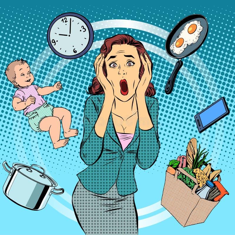 Enfant de femme et de femme de charge de soins à domicile illustration libre de droits