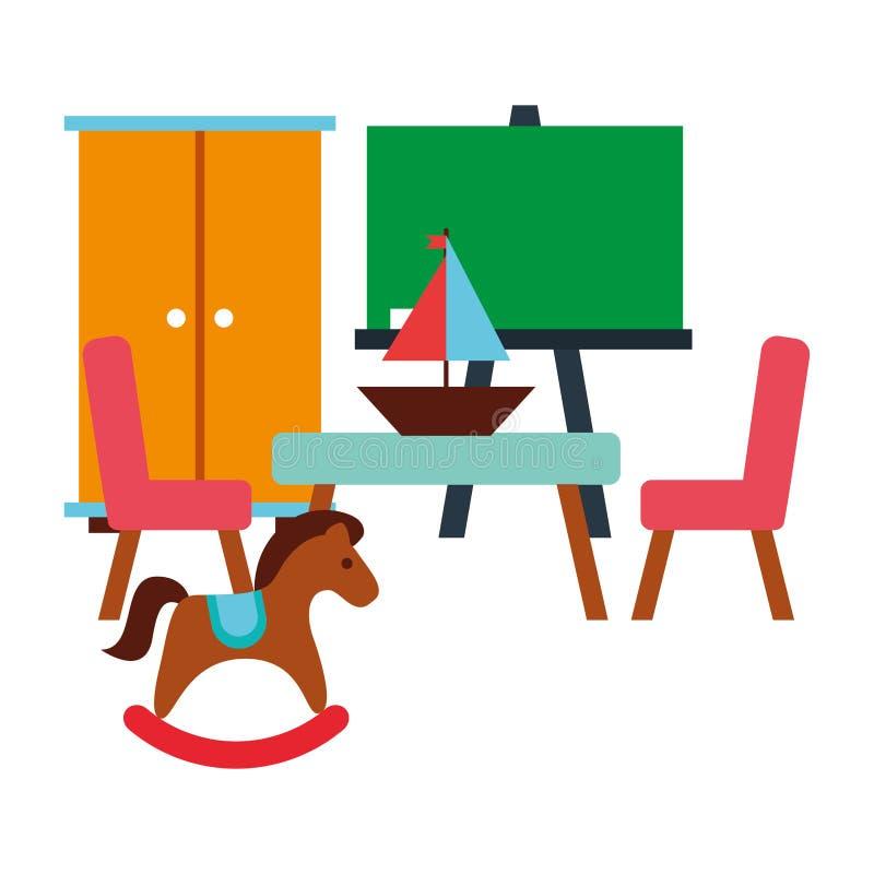 Enfant de jouet de cheval de basculage de tableau de table de salle de classe illustration de vecteur
