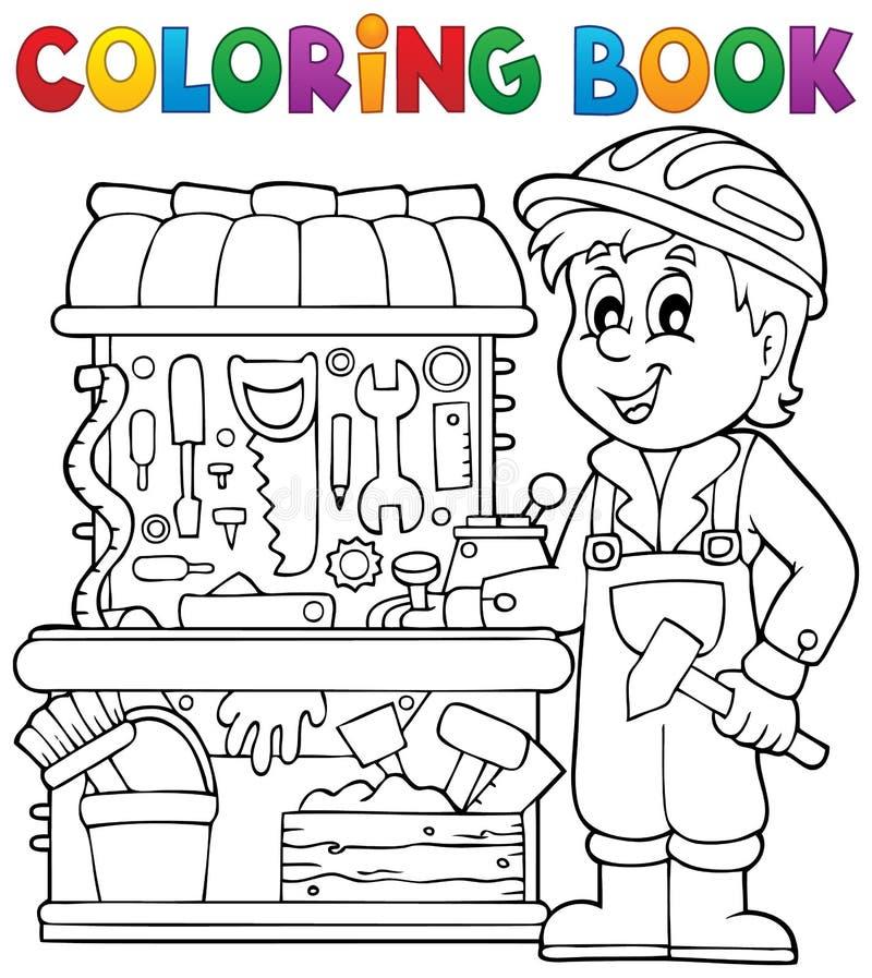 Enfant de livre de coloriage jouant le thème 2 illustration de vecteur