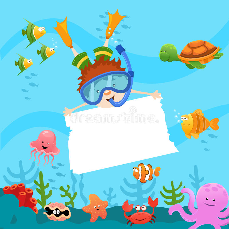 Enfant de plongeur avec le papier blanc illustration de vecteur