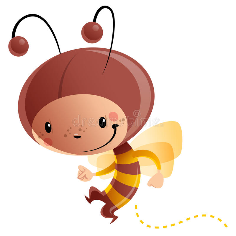 Enfant de sourire heureux de bande dessinée utilisant le costume drôle d'abeille de carnaval illustration stock