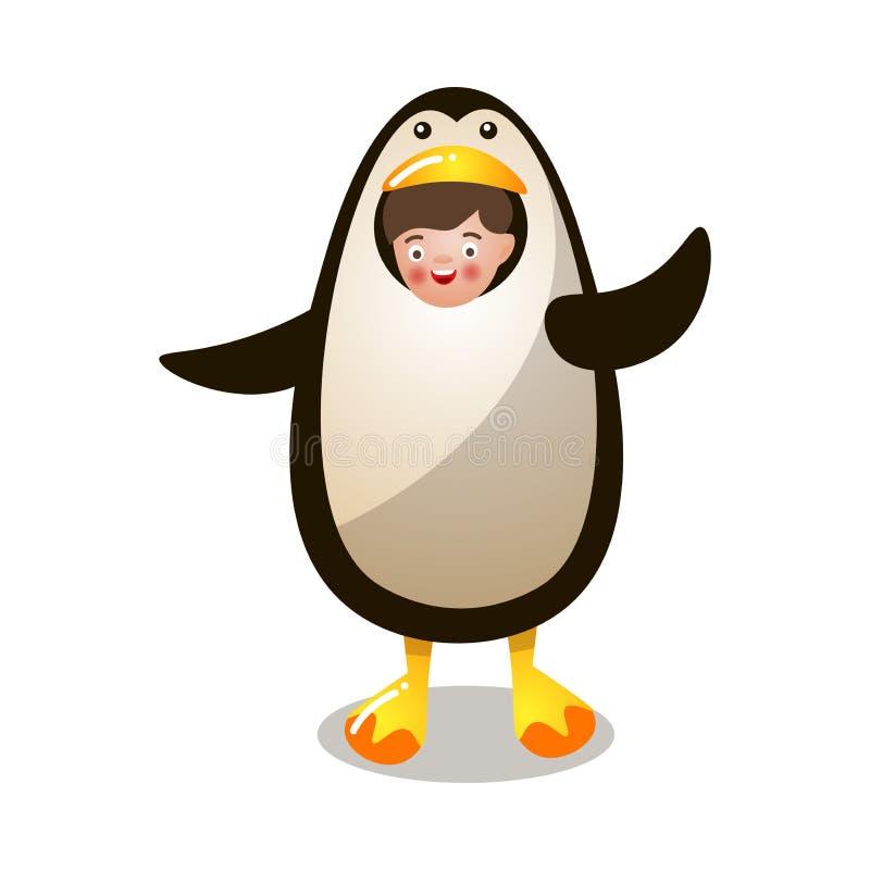 Enfant de sourire mignon dans le costume drôle arctique de pingouin illustration stock