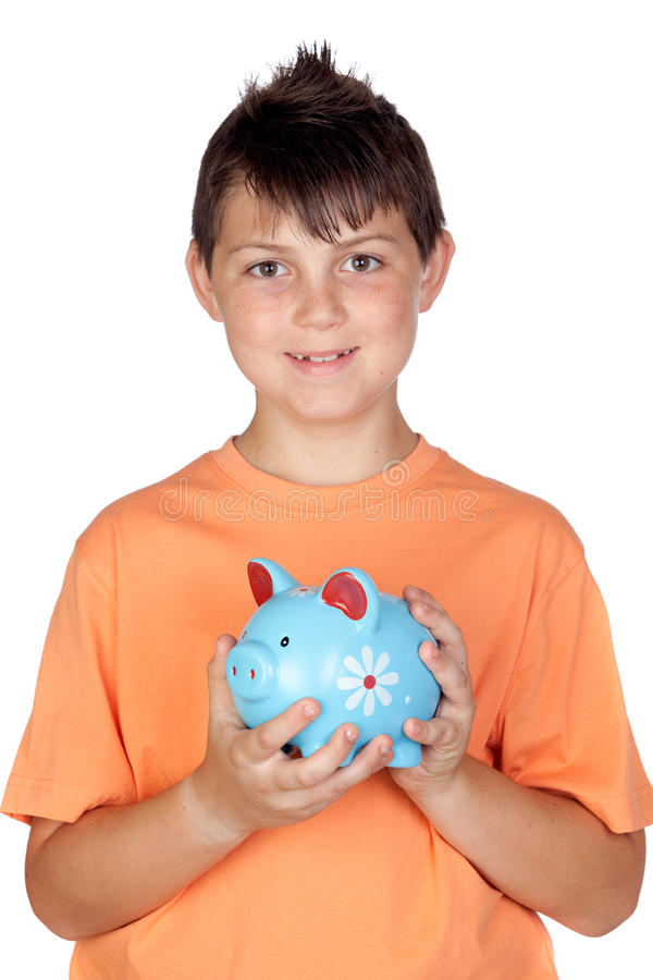 Enfant drôle avec un argent-cadre photos stock