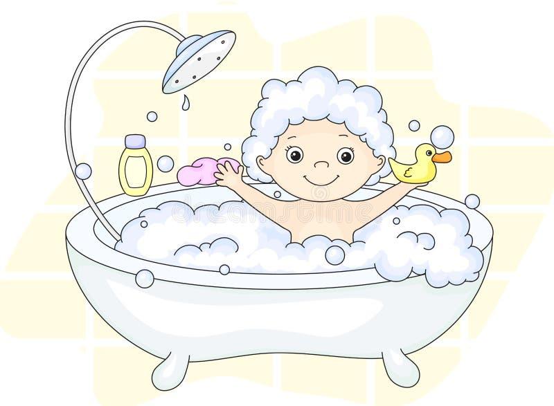 Enfant en bas âge d'ute de ¡ de Ð se baignant dans le bain avec la mousse et le canard jaune Cle illustration libre de droits