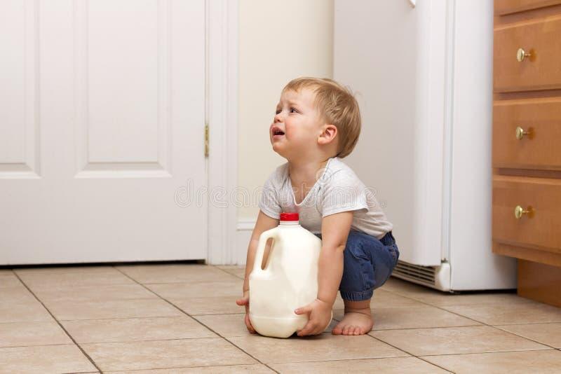 Enfant en bas âge essayant de soulever le gallon de lait Copiez l'espace images stock