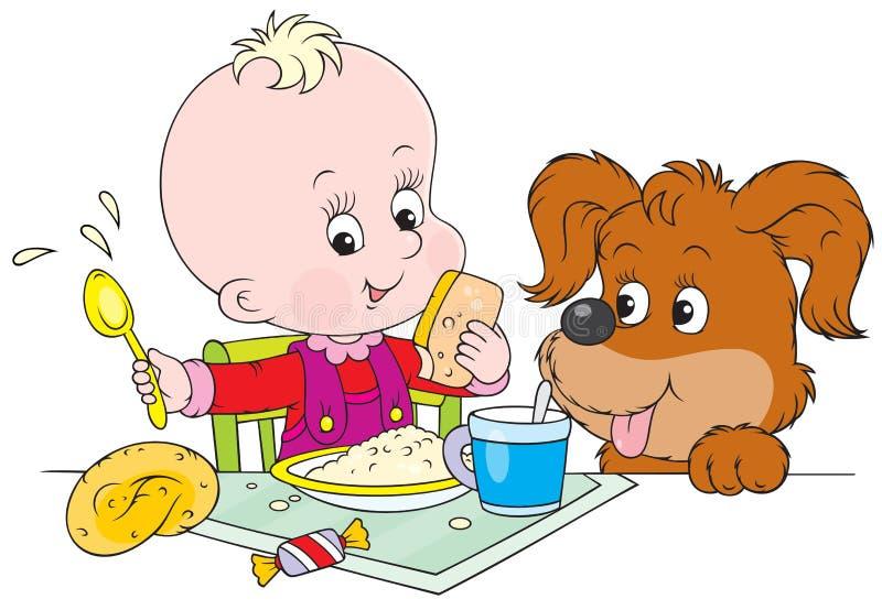 Enfant en bas âge et chiot au dîner illustration libre de droits