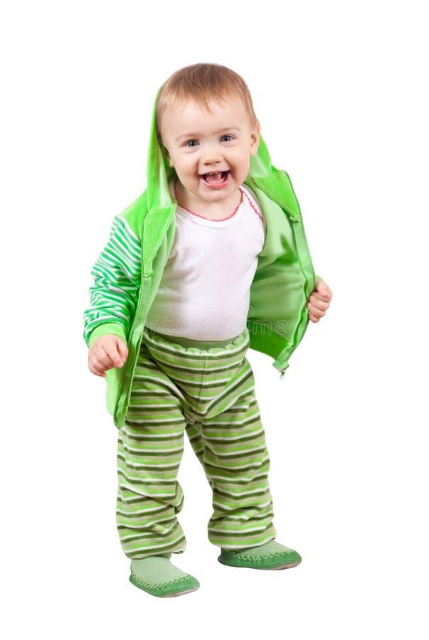 Enfant en bas âge heureux au-dessus du fond blanc images libres de droits
