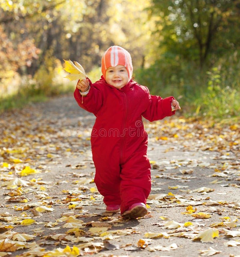 Enfant en bas âge heureux en stationnement d'automne images stock