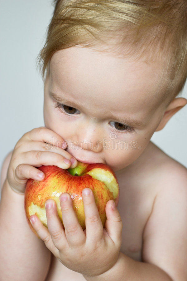Enfant en bas âge mangeant Apple image stock
