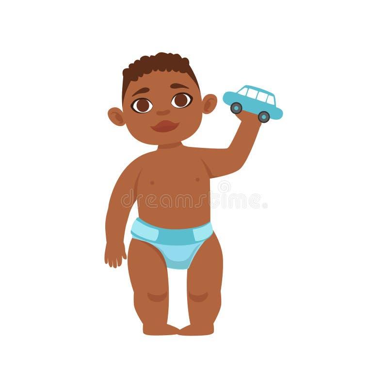 Enfant en bas âge noir de garçon dans la couche-culotte tenant Toy Car, une partie d'étapes croissantes avec des enfants dans l'e illustration de vecteur