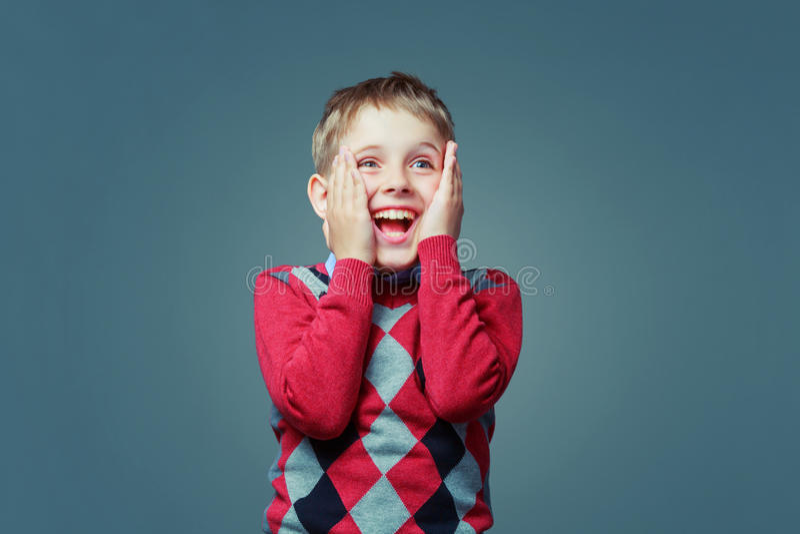 Enfant enthousiaste heureux image libre de droits