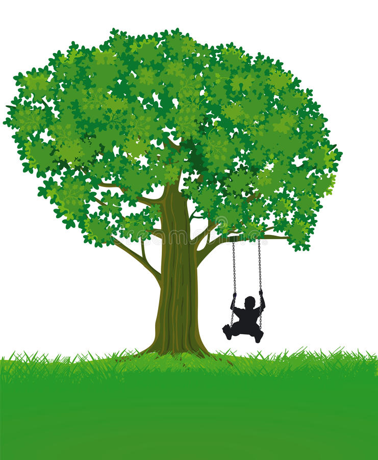 Enfant et arbre illustration stock