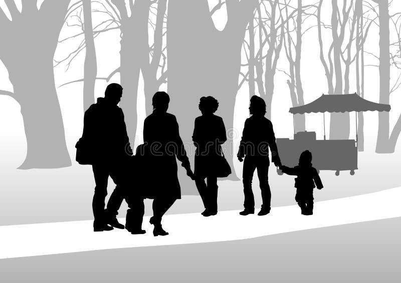 Enfant et familles en stationnement illustration stock