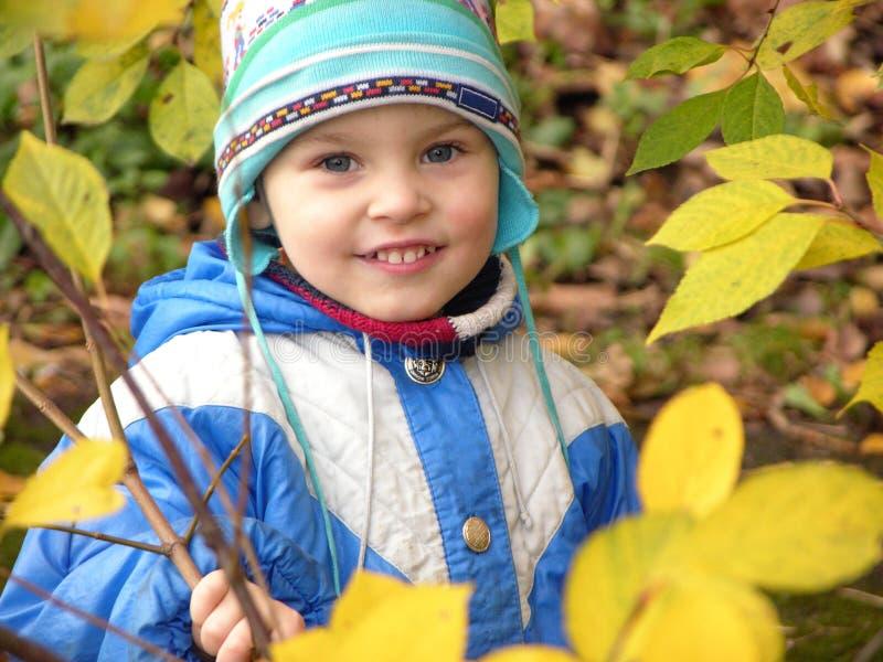 Enfant et lames d'automne autour images libres de droits