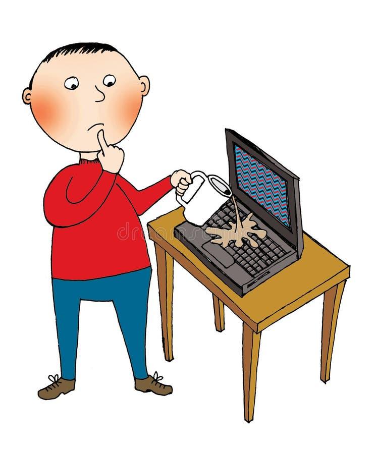 Enfant et un ordinateur portable illustration libre de droits