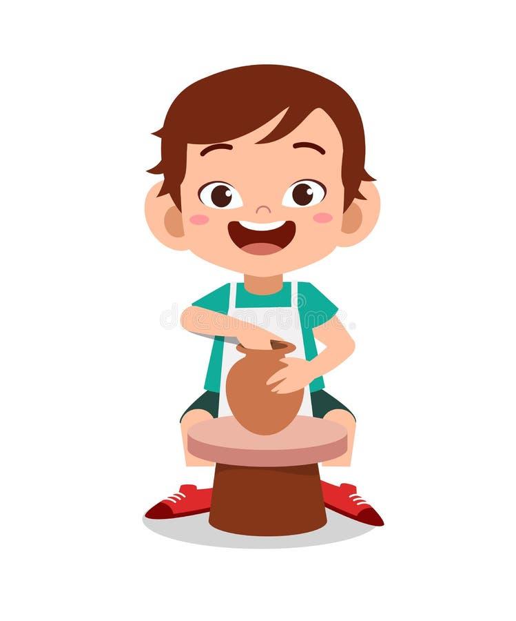enfant fabriquant un vecteur d'argile de poterie illustration libre de droits