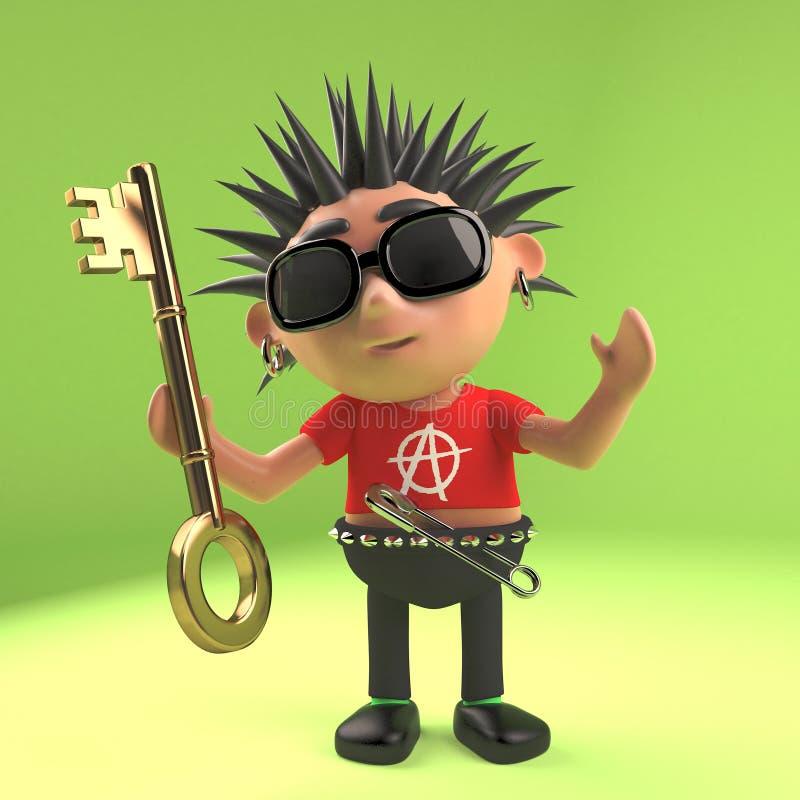 Enfant fol de punk rock tenant une clé d'or, illustration 3d illustration stock
