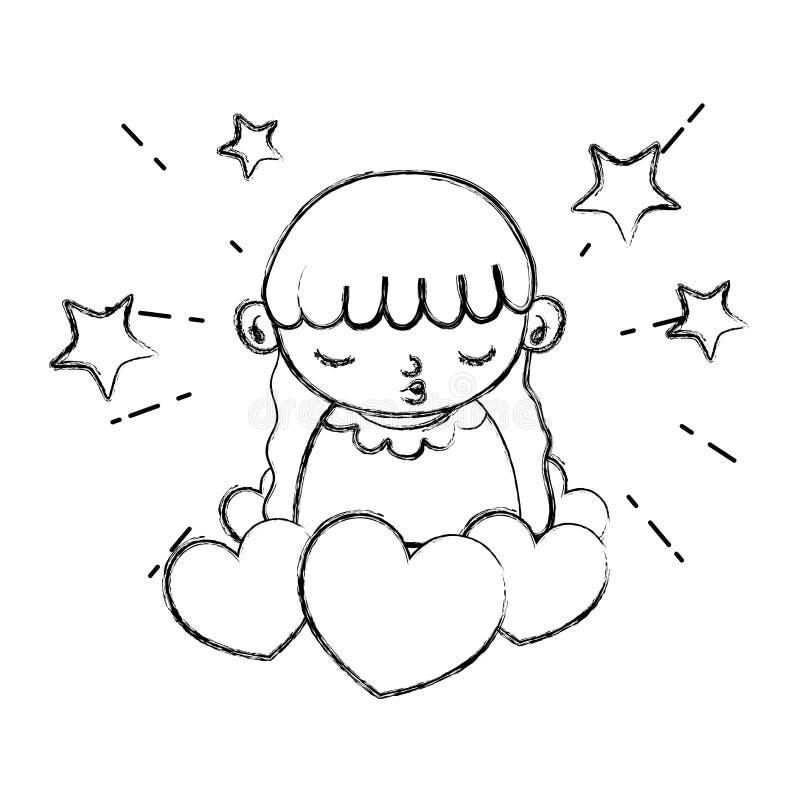 Enfant grunge de fille de beauté avec des coeurs et des étoiles illustration stock