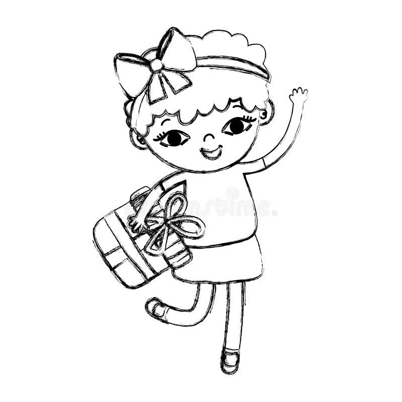 Enfant grunge de fille de beauté avec la boîte actuelle illustration stock