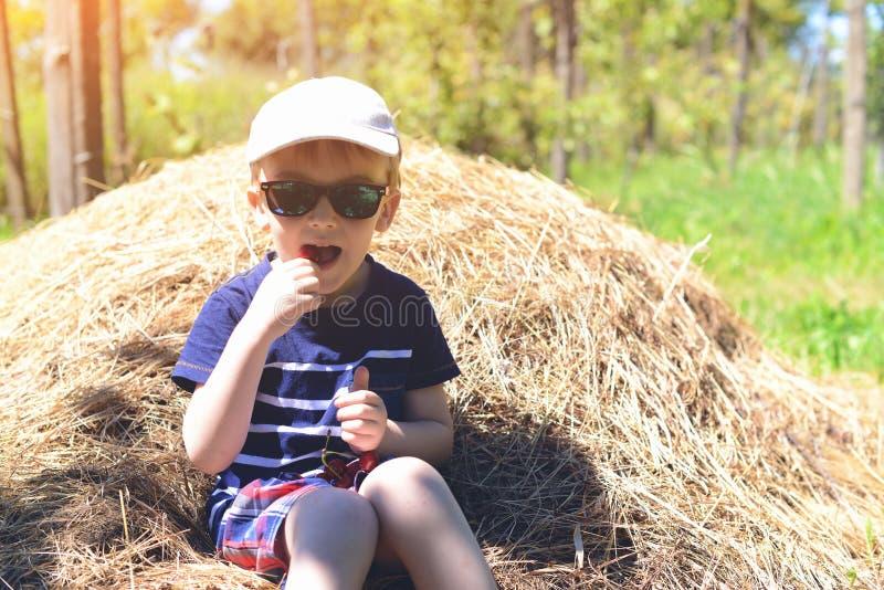 Enfant heureux dans des lunettes de soleil Week-end de famille à une ferme Le garçon drôle mange la cerise fraîche et s'assied su photos stock