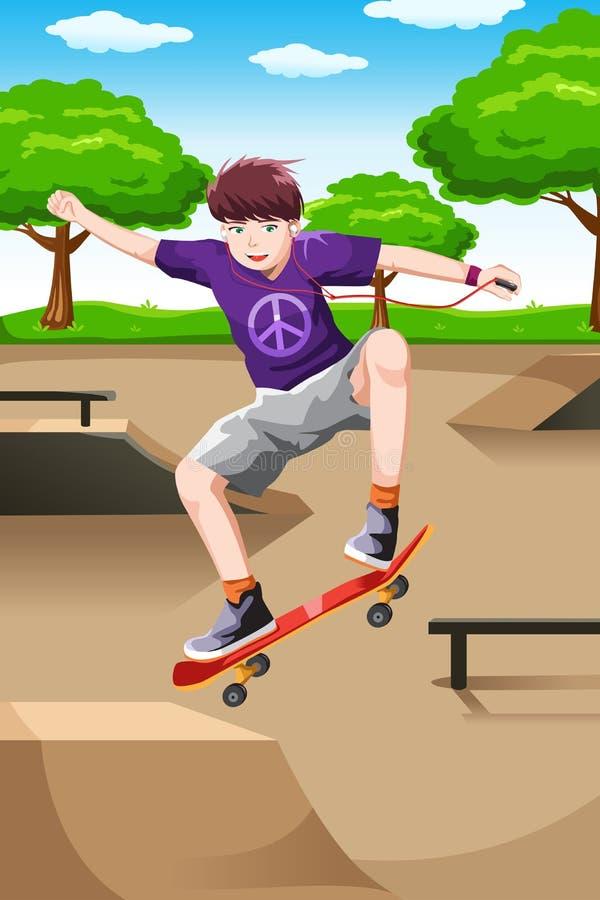 Enfant heureux jouant la planche à roulettes illustration libre de droits