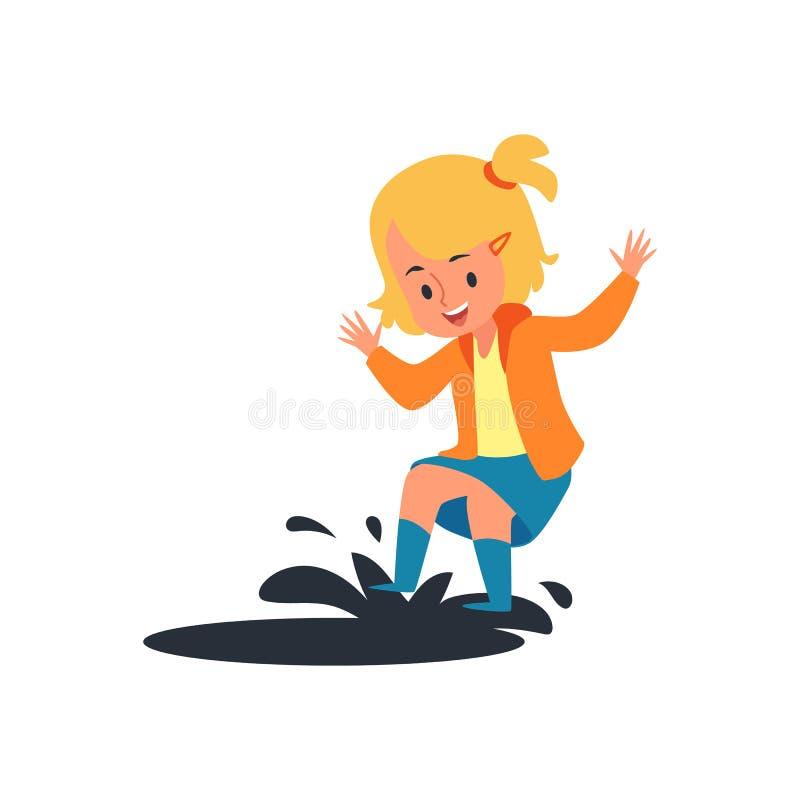 Enfant heureux sautant sur le magma de pluie, petite fille blonde ayant l'amusement éclaboussant l'eau de boue illustration stock