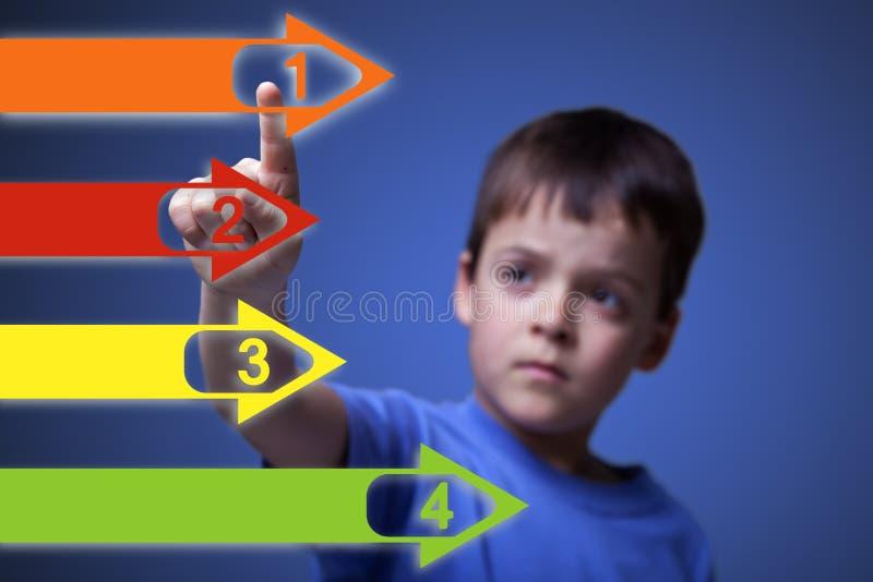 Enfant indiquant les flèches colorées images stock