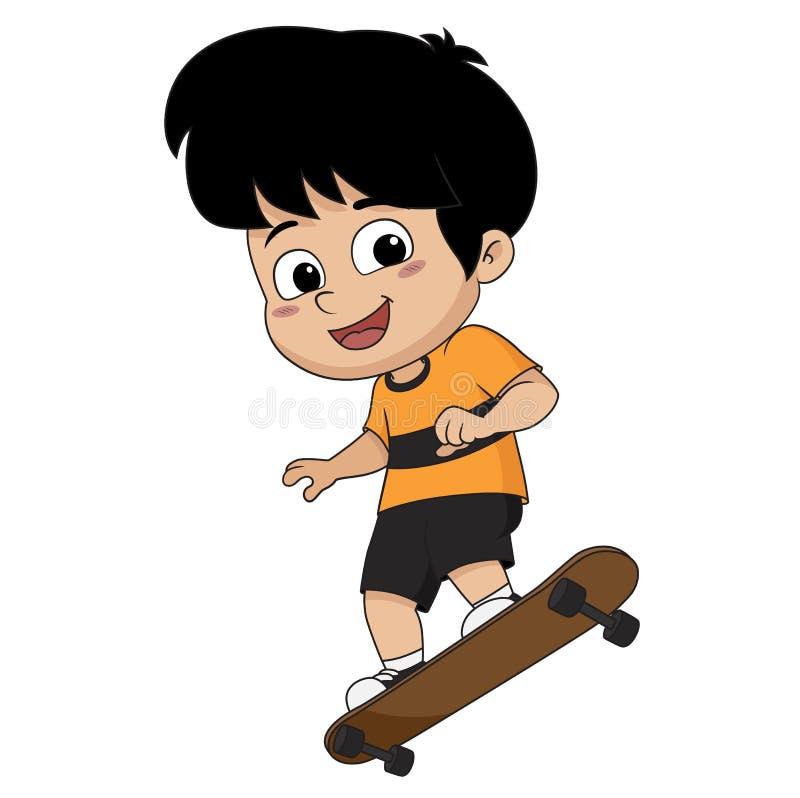 Enfant jouant la planche à roulettes illustration libre de droits