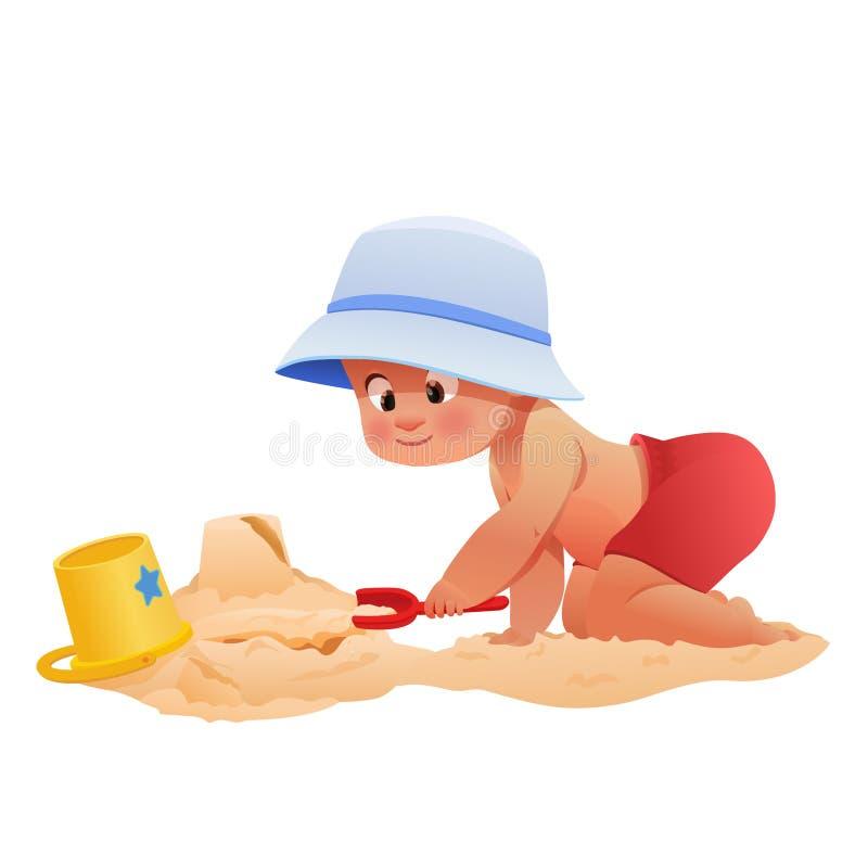 Enfant jouant sur la plage illustration libre de droits