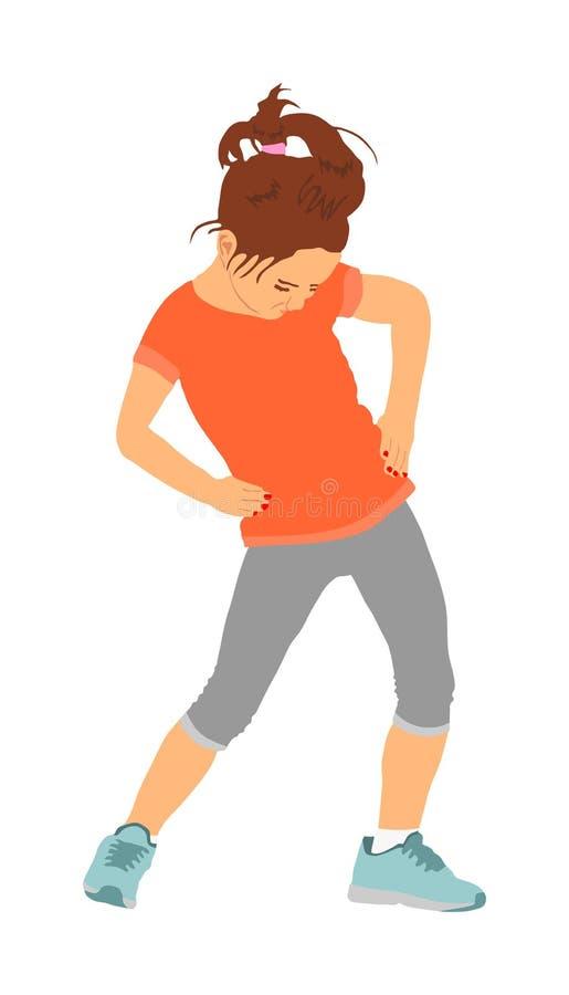 Enfant joyeux heureux, peu de fille faisant des exercices, illustration de vecteur d'isolement sur le fond blanc Jeune dame étira illustration stock