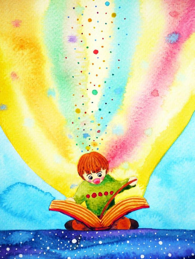 Enfant lisant le grand livre avec l'imagination et l'amusement, peinture d'aquarelle illustration libre de droits