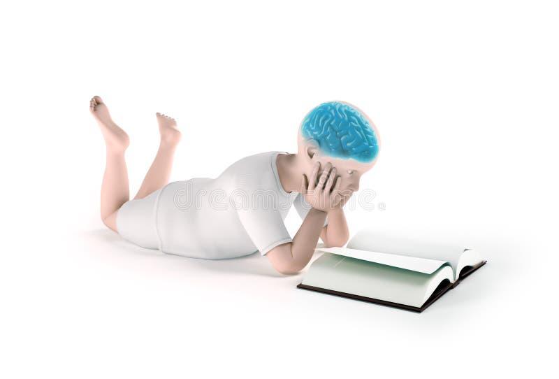 Enfant lisant un livre illustration stock