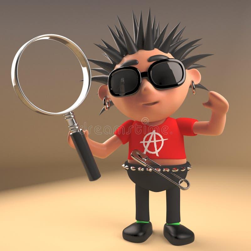 Enfant méchant de rocker punk tenant une loupe, illustration 3d illustration libre de droits