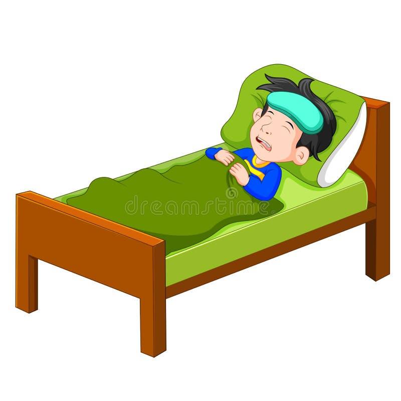 Enfant malade se situant dans le lit illustration de vecteur