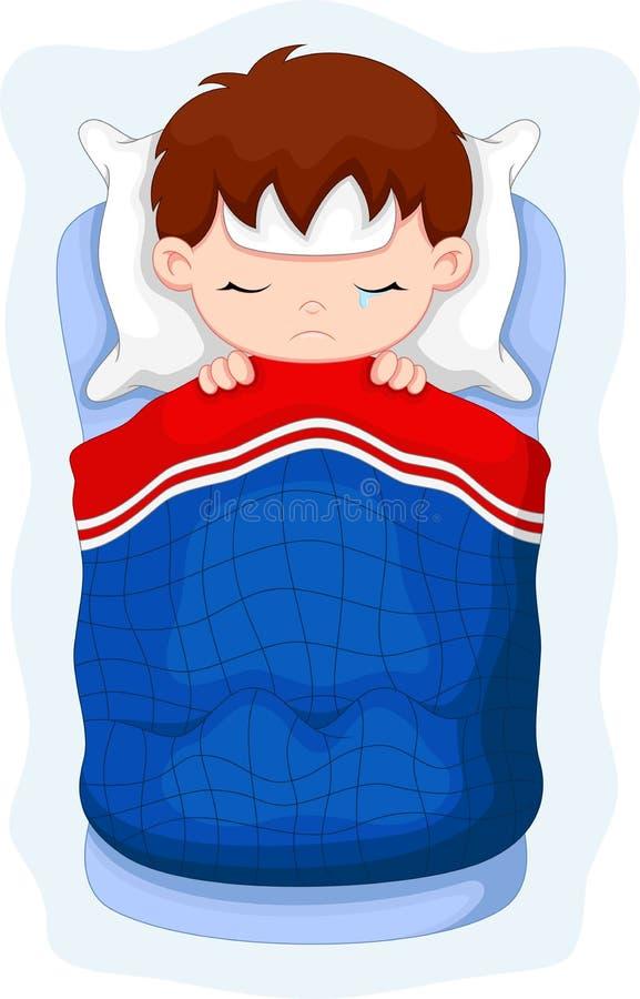 Enfant malade se situant dans le lit illustration stock