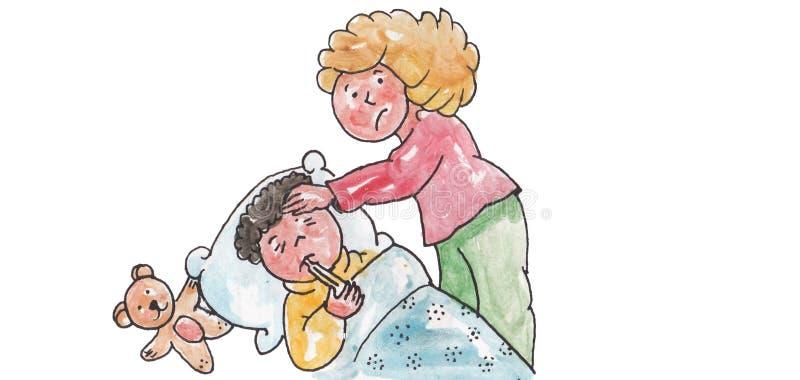 Enfant malade se trouvant sur le lit illustration stock
