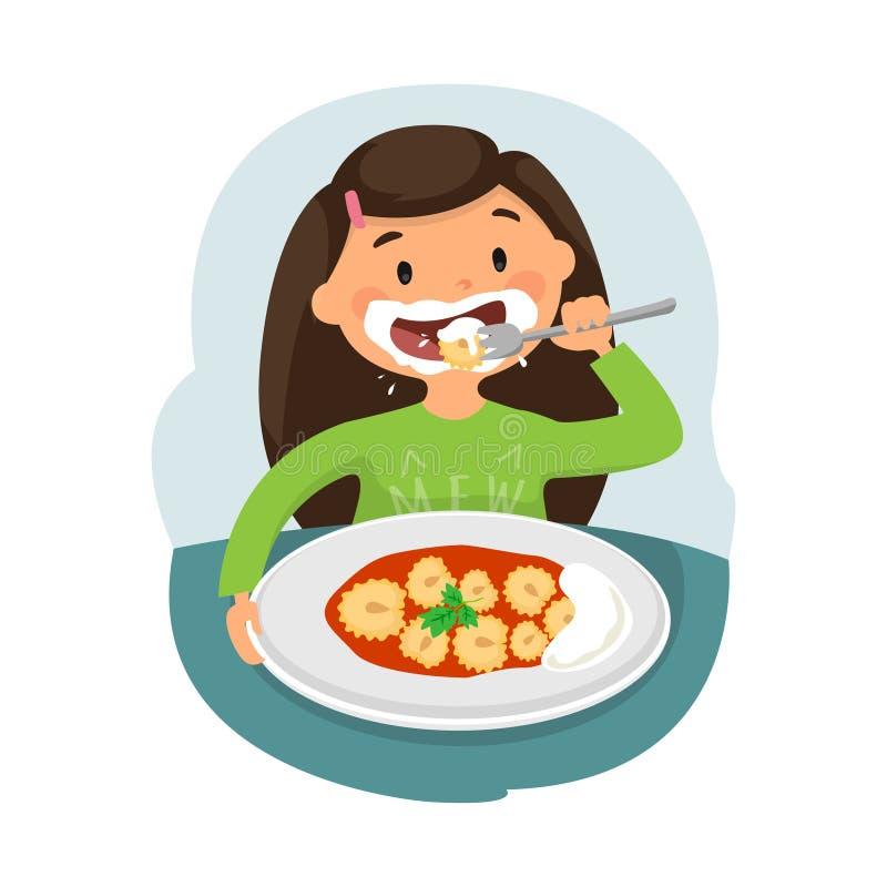Enfant mangeant de la nourriture saine illustration libre de droits